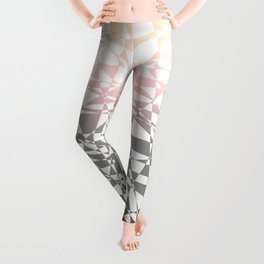 Iridescent, pink to gray, delicate geometric shapes pattern Leggings