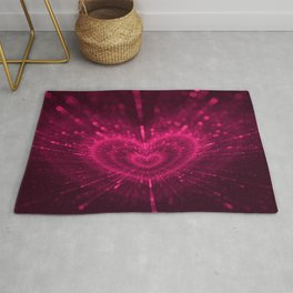 Purple Love Heart, Happy Valentine's Day Pattern Rug
