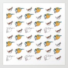 Great Tits eat Grasshoppers Art Print