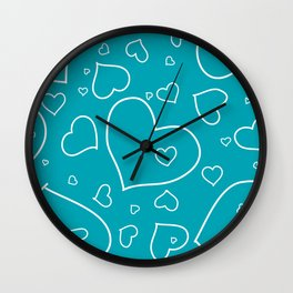 Turquoise and White Hand Drawn Hearts Pattern Wall Clock