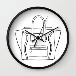 Outline Black and White Céline Vibes High Fashion Purse Illustration Wall Clock