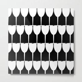 Vino - White on Black Metal Print