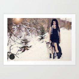 Snow Queen & her Wolf Art Print