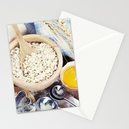 Fresh ingredients for oatmeal cookies Stationery Cards