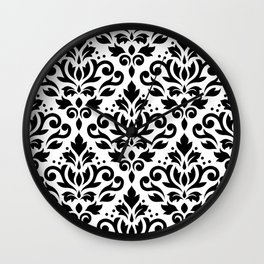 Scroll Damask Big Pattern Black on White Wall Clock