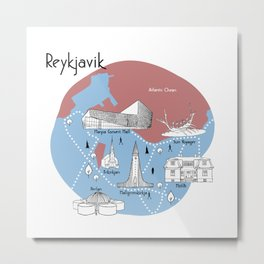 Reykjavik Map - Original Metal Print