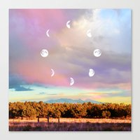 moon phases Canvas Prints featuring Moon Phases by LoveFreeMovement