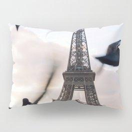 Paris Eiffel tower and flight of birds Pillow Sham