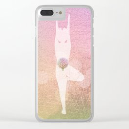 Tree Pose Silhouette | Rose Gold Foil Clear iPhone Case