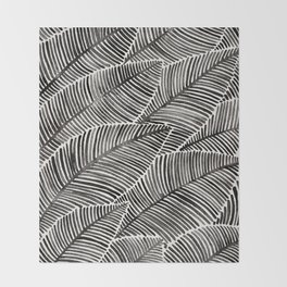 Tropical Palm Leaves – Black Palette Throw Blanket