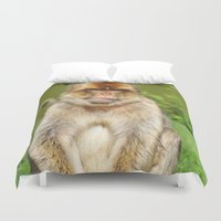 ape Duvet Covers featuring Barbary ape by Pirmin Nohr