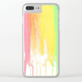 Rainbow Watercolor Drip Clear iPhone Case