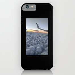 Cloudy sky view from airplane at sunset iPhone Case
