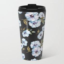 BLUE FLOWERS WATERCOLOR Metal Travel Mug