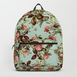 Vintage shabby green pink coral floral pattern Backpack