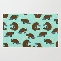 platypus Area & Throw Rugs featuring Platypus Love by Joanne Paynter