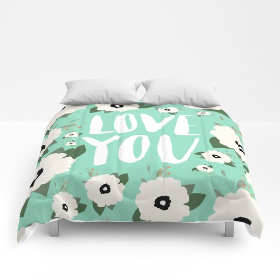 Love you Floral - Turquoise Comforters