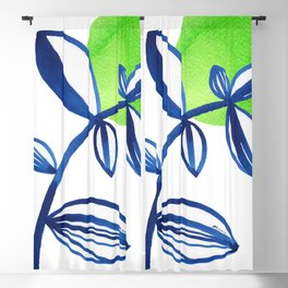 Blue and lime green minimalist leaves Blackout Curtain