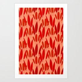 Neo Tropical - Brick Red Art Print
