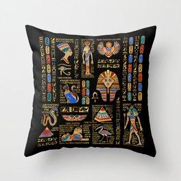 Egyptian hieroglyphs and deities on black Throw Pillow