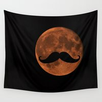 mustache Wall Tapestries featuring Mustache Moon by Marianna Mills
