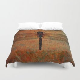 Dragonfly On Orange and Green Background Duvet Cover