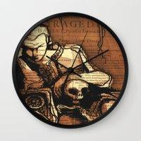 denmark Wall Clocks featuring Hamlet Prince of Denmark by Immortal Longings