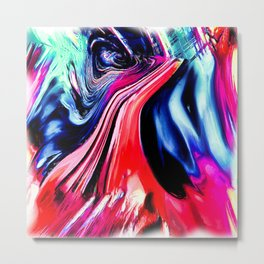 lava meets the sea abstract oil painting Metal Print