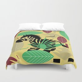Zebra with leaves and dots Duvet Cover