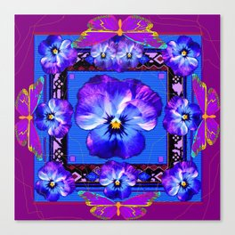 Purple Pansy & Butterflies Melody Abstract Canvas Print