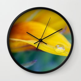 Macro drop on the sunflower petal Wall Clock
