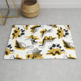 Geometric Dinos // non directional design white background yellow mustard dinosaurs shadows Rug