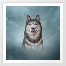 Drawing Husky dog 3 Art Print