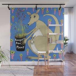 kangaroo with Australian kangaroo paw plant, green beige khaki brown orchid lime Wall Mural