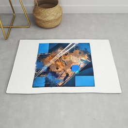 Abstraction, Orange and Blue Rug