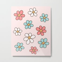 Cute Happy Colorful Smiling Daisies, Retro Smile Daisy Pattern in Soft Girly Pastel Blush, Pink and Mint Color Metal Print
