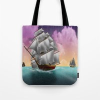 ships Tote Bags featuring Rigged Ships by Yoly B. / Faythsrequiem
