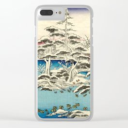 Snowy Dawn at Ryoan-ji Temple by Hasegawa Sadanobu - Japanese Vintage Ukiyo-e Woodblock Painting Clear iPhone Case