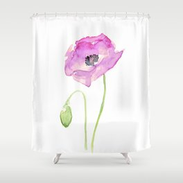 Purple Poppy Floral Watercolor Shower Curtain