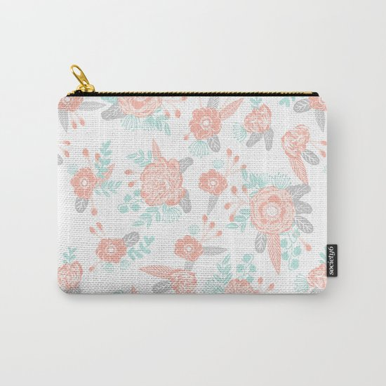 Floral bouquet pastel mint pink florals painted painted pattern basic minimal pattern print Carry-All Pouch