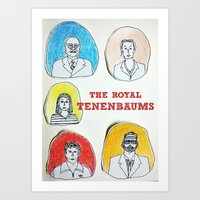 the royal tenenbaums Art Prints featuring The Royal Tenenbaums  by Neethi Goldhawk