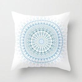 Blue White Geometric Mandala Throw Pillow