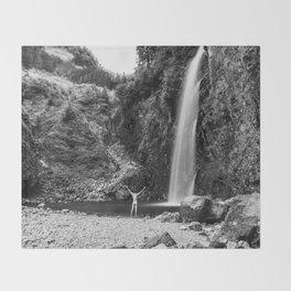 Naked Long Exposure Waterfall Throw Blanket