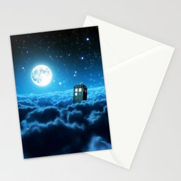 Tardis Cloud And Moon Stationery Cards