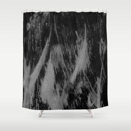 Gray black watercolor brushstrokes abstract pattern Shower Curtain