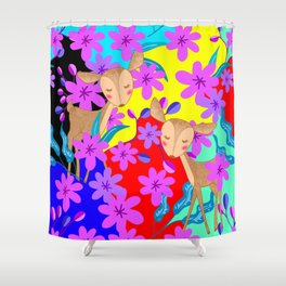 Cute wild sweet little baby deer fawns lost in the forest of delicate pink flowers colorful design Shower Curtain