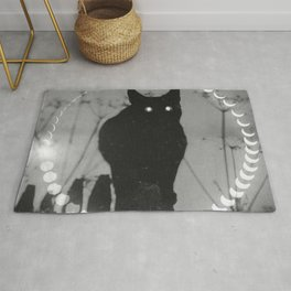 Phases of the Moon: Black Cat Rug