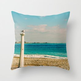 Seacoast of Cagnes-sur-Mer in a sunny winter day Throw Pillow