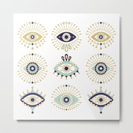 Evil Eye Collection on White Metal Print