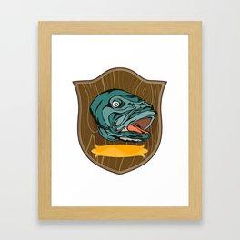 Largemouth Bass on shield Framed Art Print